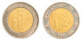 One two mexican peso coins isolated on white background Royalty Free Stock Images