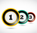 One two three 1, 2, 3 button Royalty Free Stock Photos