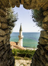 One type of the palace of the queen mary view minaret tower in balchik on part stone walkways to Stock Image