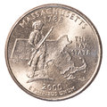 One US Quarter coin - state of massachusetts Royalty Free Stock Photo