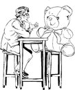 One way communication old businessman who already do not have anyone who is only in the company and a teddy bearmen Stock Images