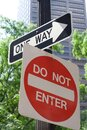 One way and do not enter signs Royalty Free Stock Photo