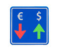 One-way dollar and euro currency traffic Stock Photo