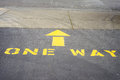 One way driveway showing direction of traffic Royalty Free Stock Images