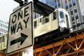 One Way/El Train Stock Image