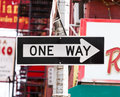 One Way street sign in New York City Royalty Free Stock Photo