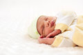 One-week old baby boy asleep Royalty Free Stock Images