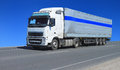 One white lorry with trailer Royalty Free Stock Photo