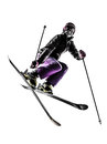 One woman skier freestyler jumping silhouette caucasian in on white background Stock Images