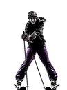 One woman skier resting silhouette Royalty Free Stock Photo