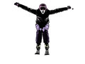 One woman skier skiing jumping shouting silhouette caucasian in on white background Royalty Free Stock Photos