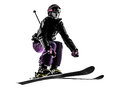 One woman skier skiing jumping silhouette caucasian in on white background Royalty Free Stock Photography