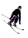 One woman skier skiing jumping silhouette caucasian in on white background Royalty Free Stock Photos