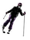 One woman skier skiing silhouette caucasian in on white background Royalty Free Stock Photo