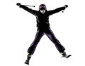One woman skier skiing silhouette caucasian in on white background Stock Images