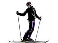 One woman skier skiing silhouette in on white background Royalty Free Stock Photography