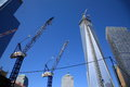 One world trade center construction cranes near new freedom tower site in new york city Royalty Free Stock Photos
