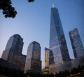 One world trade center financial district new york and other skyscrapers in the lower manhattan city night view of lower manhattan Stock Photos