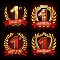 One Year Anniversary Banner Set Vector. 1 Age Sign. One, First Celebration. Shining Gold Sign. Number One. Laurel Wreath Royalty Free Stock Photo