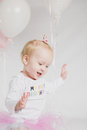 One Year Old Birthday Portraits Smiling Royalty Free Stock Photo