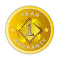 One year warranty gold medal Royalty Free Stock Image
