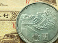 One yuan coin amplification details Royalty Free Stock Photo