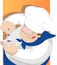 Ð¡onfectioner is cooking a dessert