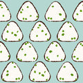 Onigiri seamless pattern. Asian snack. Rice ball.