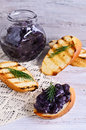 The onion confit sandwich with of and a sprig of dill Royalty Free Stock Images