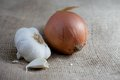Onion and Garlic on Burlap Royalty Free Stock Photo