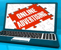 Online Advertising On Laptop Shows Websites Promotions Stock Images
