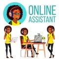 Online Assistant African Woman Vector. Headphone, Headset. Call Center. Technical Support. Dispatcher. Illustration