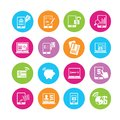 Online banking icons in colorful round buttons Royalty Free Stock Image