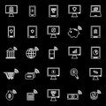 Online banking line icons on black background