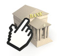 Online banking one bank building and a cursor icon concept of d render Royalty Free Stock Photos