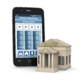 Online banking one bank building and a smartphone with an app d render Stock Photos