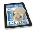 Online banking one bank building and a tablet pc with an app d render Royalty Free Stock Images