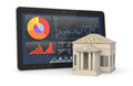 Online banking one bank building and a tablet pc with a stock market app concept of investment and d render Stock Image