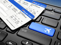 Online booking airplane tickets d laptop keyboard Stock Image