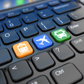 Online booking tickets to train bus or airplane laptop keyboa keyboard d Stock Photo