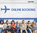 Online Booking Traveling Plane Flight Concept Royalty Free Stock Photo