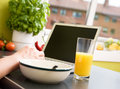 Online Breakfast Stock Photo