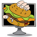 Online burger delivery an image of a cartoon Royalty Free Stock Images