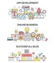 Online business activities and app development illustrations.