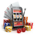 Online casino concept. Mobile phone, slot machine, dice and card Royalty Free Stock Photo