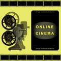 Online cinema, film projector, film, movie library. Page design for sites, online movies. Royalty Free Stock Photo