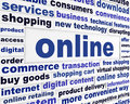 Online commerce business concept new internet technology background Stock Image
