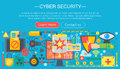 Online communication security, computer protection, cuber secutity infographics template design, web header elements