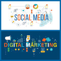 Online communication, social media, digital and mobile marketing concept.