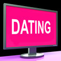 Online dating computer shows romance date and web love showing Stock Photos